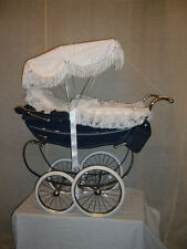 SUN CANOPY TO FIT SILVER CROSS DOLLS PRAMS CHOICE OF ROSE TRIM STUNNING