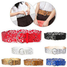1 Pcs Girdle Women Buckle Hollow Leather Wide Stretch Belt Waistband New