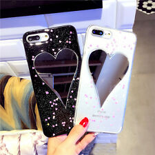 Mirror Lovely Heart Soft  Glitter Back Phone Case Cover For iPhone 6 6s 7 Plus