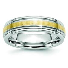 Chisel Cobalt 14k Gold Inlay Satin and Polished 6mm Band Ring CC54
