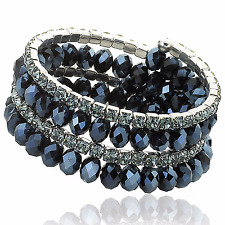 Riccova Women's' Faceted Crystal 3-row Snake Wrap Fashion Bracelet with beads