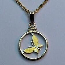 """Papa New Guinea 1 Toea """"Silver and Gold Plated """"Butterfly"""" Coin Necklace #3"""