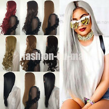 3/4 Ombre Full Wig Natural Ladies Long Curl Straight Wavy Synthetic Half Wigs UK