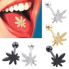 Leaf Barbell Tongue Ring Stainless Steel Body Piercing Unisex Jewelry Exquisite
