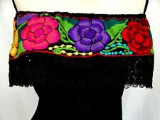 Embroidered Mexican Blouse Floral  Women Oaxaca Top peasant Hippie Gauze Frida