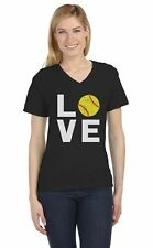 Love Softball - Gift for Softball Fans V-Neck Fitted Women T-Shirt Softball