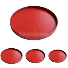 Wood Hotel Restaurant Round Shape Food Cake Serving Tray Container Red