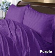 Soft Linen Bedding Collection 1000TC Egyptian Cotton UK All Size Purple Striped