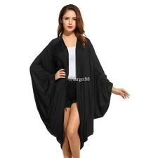 New Women Casual Long Batwing Sleeve Collarless Solid Pleated Cardigan UTAR