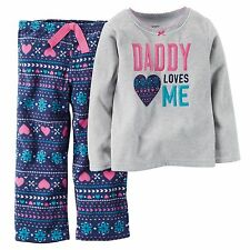 "NEW! Carters ""Daddy Loves Me"" Girls 2 Pc Fleece Pajamas PJ 2T 4T Gift! $22 DAD"