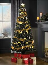 5ft 6ft PRE LIT Fibre Optic Christmas Tree GOLD LED Star Candle Decorations NO