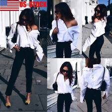 US Women Deep V Long Sleeve Shirt Loose Collar Party Top Backless Lace Up Blouse