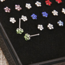 24pcs Crystal Rhinestone Nose Ring Bone Stud Stainless Body Piercing Jewelry