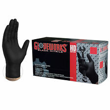 GLOVEWORKS Black Nitrile Industrial Latex Free Disposable Gloves, Box, 100 count