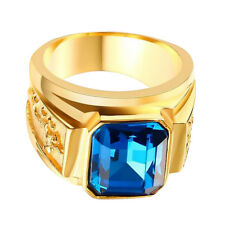 IP Gold Plated Carved Tibet Dragon Solitaire Ring Blue Luxuary Gem Rhinestone
