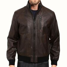 Calvin Klein Men's Size MEDIUM Brown Faux Leather Bomber Jacket Quilt Lined NWT