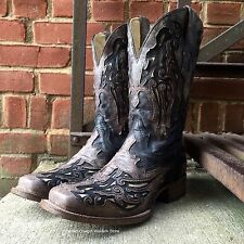 CORRAL MEN'S BLACK/BROWN W/BONE INLAY SQUARE TOE BOOTS A2828 SEXY BOOT GUYS!