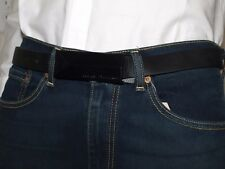 Armani Exchange Authentic AX Black Metal Buckle Logo Belt Black NWT