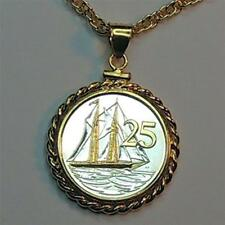 """Cayman Islands 25 Cent Silver & Gold Plated """"Boat""""  18"""" or 24"""" Coin Necklace"""