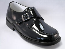 Danuccelli boys shiny black buckle strap dress shoes Youth size 12.5 - 3