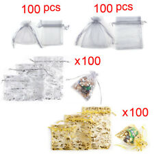 100 Organza Silk Jewellery Gift Sugar Coins Seeds Storage Pouch Bags