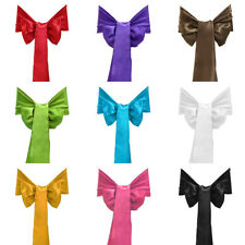 25pcs Satin Chair Cover Sash Bow Wedding Party Xmas Decor Many Colors