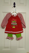 Girls Size 6 Months Rare Editions Christmas Tree (  Top & Leggings)  Outfit
