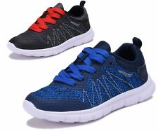 New Boys Knit Tennis Shoes Breathable Running Sneakers Athletic Kids Youth