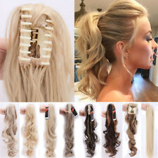 Natural Long Clip in hair extensions Curly Claw Ponytail Pony Tail as human PE7