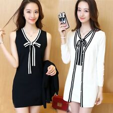 Fashion Womens New Casual Long Sleeve Coat+Sleeveless Vest Dress Two-piece Set
