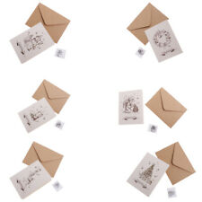 30 Sets Kraft Paper Christmas Greeting Card with Painted Envelopes Wishing Card