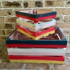 Wooden/Wood/Timber Blue/Red/Pink/White/Yellow Kids Room Crates/Crate/Boxes/Box