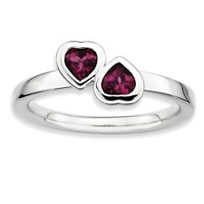 925 Sterling Silver Rhodolite Garnet Two Heart Cut Bezel Ring - 2.25mm