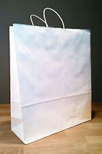 16x6x19 White Paper Gift Shopping Fashion Tote Bags with Rope Handles
