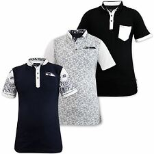 New Mens Genetic Apparel Printed Fashion Polo Collar Cotton T-Shirt Pocket Top
