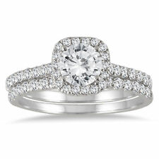 AGS Certified 1 3/8 CTW Round Diamond Halo Bridal Set in 14K White Gold