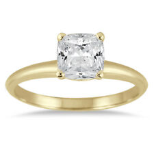 1 Carat Cushion Cut Diamond Solitaire Ring in 14K Yellow Gold