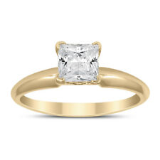 AGS Certified 1 Carat Princess Diamond Solitaire Ring in 14K Yellow Gold