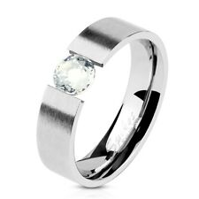 Stainless Steel 0.45 Carat Tension Set CZ Brushed Ring Size 5-13