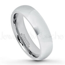 5.5mm Comfort Fit Dome Tungsten Wedding Band, Polished Tungsten Carbide Ring