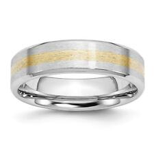 Chisel Cobalt 14k Gold Inlay Satin and Polished 6mm Band Ring CC52