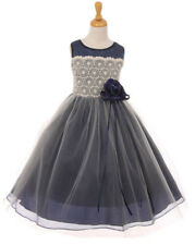New Navy Blue Organza Lace Girls Dress Pageant Christmas Holidays Wedding 2084