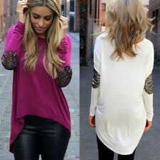 Long Sleeve Shirt Loose Tops Fashion Womens Casual Blouse Round Neck