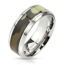 coolbodyart Stainless Steel Ring Silver 8mm Wide with Green Camouflage Inlay