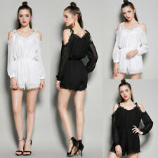 Women Off Shoulder Jumpsuit See Through Sleeve Mini Casual Playsuit Sling Romper