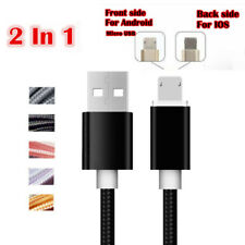 Fiber Nylon Braided IOS/Micro USB 2in1 Quick Charging Sync Data Cable For Phones