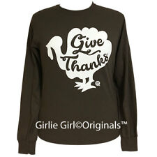 "Girlie Girl Originals ""Give Thanks-Turkey"" Long Sleeve Dark Chocolate T-Shirt"