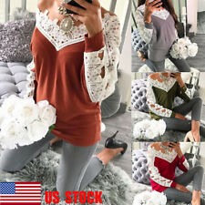 US Women Casual Hollow Out Long Sleeve Top Lace Shirt V Neck Off Shoulder Blouse