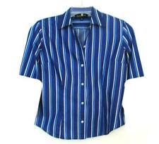 NWOT WOMENS JONES NEW YORK COTTON BLUE STRIPE SHORT SLEEVE SHIRT REG SIZE M