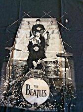 The Beatles T-Shirts Mens Black RARE STAGE STAIRS LUDWIG LOGO UK Sizes MD -  XL